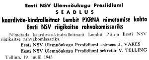 Viru Sõna, 24.07.1945