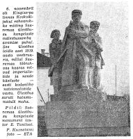 """Foto Kuressaares 6. novembril 1963 avatud Saaremaa töörahva 1919. aasta ülestõusu kangelaste monumendist, """"Punane Täht"""" 14.11.1963."""