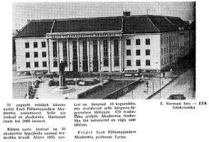 """Tartu Lenin Eesti Põllumajanduse Akadeemia hoone ees, """"Punane Täht"""" 31.08.1961."""