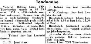 Röövlinnud, Punane Täht, 6.07.1957.
