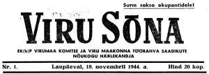 Esimene number, Viru Sõna, 18.11.1944.