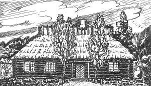 """Uljaste külakooli maja umbes 1914. aastal. Vana foto järgi rekonstrueerinud Meinhard Laks. """"Viru Sõna"""" 19.05.1990."""