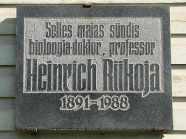 Mälestustahvel Heinrich Riikojale. Foto: Heiki Koov, august 2010.