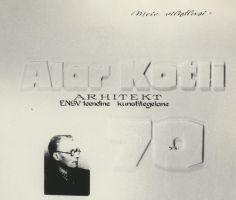 """Stend näituselt """"Alar Kotli 70"""" Rakvere 1. Keskkoolis, koostatud Odette Kirsi. Foto: Pear Rootalu, 1974. RM F 838:3, Virumaa Muuseumid SA, http://www.muis.ee/museaalview/1664366."""