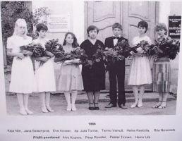 Koos koolilõpetajatega on fotole jäänud ka mälestustahvel. Kiltsi Põhikooli arhiiv.