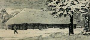 "Olev Soans, ""Eduard Vilde sünnimaja2, 1964, tušimaal paberil. TLM EVM 1176 EVK 43:2, Tallinna Linnamuuseum, http://www.muis.ee/museaalview/1656617."