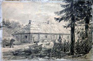 """Olev Soans, """"Eduard Vilde sünnikoht Pudiveres"""" 1950, pliiatsijoonistus. TLM EVM 309 EVK 11, Tallinna Linnamuuseum, http://www.muis.ee/museaalview/1625811."""