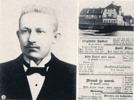 """Fotopostkaart. Tammsaare abituriendina 1903.a. Hugo Treffneri esimese järgu eragümnaasium Tartus, kus Tammsaare õppis 1898.-1903.a. Nendel aastatel debüteeris ta proosakirjanikuna jutustustega """"Kilgivere Kustas"""" ajalehes """"Postimees"""". Tema gümnaasiumipõlve loomingut ilmus ka ajalehes """"Teataja"""" ja kirjanduslikes almanahhides """"Kiired"""". HM F 217:3 Ff, Haapsalu ja Läänemaa Muuseumid SA, http://www.muis.ee/museaalview/1399878."""