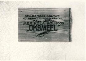 Mälestustahvel Meriküla maja seinal, RM F 1029:30, SA Virumaa Muuseumid, http://www.muis.ee/museaalview/1600399.