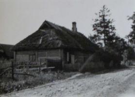 Sünnikodu külatänava poolt. Majanurgas J. Parijõe istutatud kuusk. Foto: Alfred Issak. Eesti Kirjandusmuuseumi kogu.